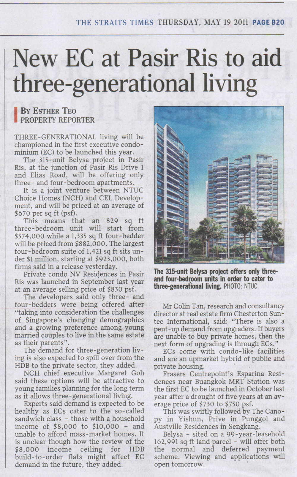 New EC at Pasir Ris to aid three—generational living